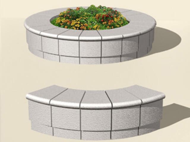 Круглая клумба из бетона 10