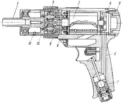 Пневматическая сверлильная машина (дрель)