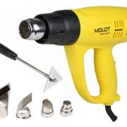 Термовоздуходувка MOLOT MHG 6020 в кор. + набор сопл (2000 Вт, 3 скор., 60-600 °С, плав. рег.,300-500 л/мин) (MHG602000011)