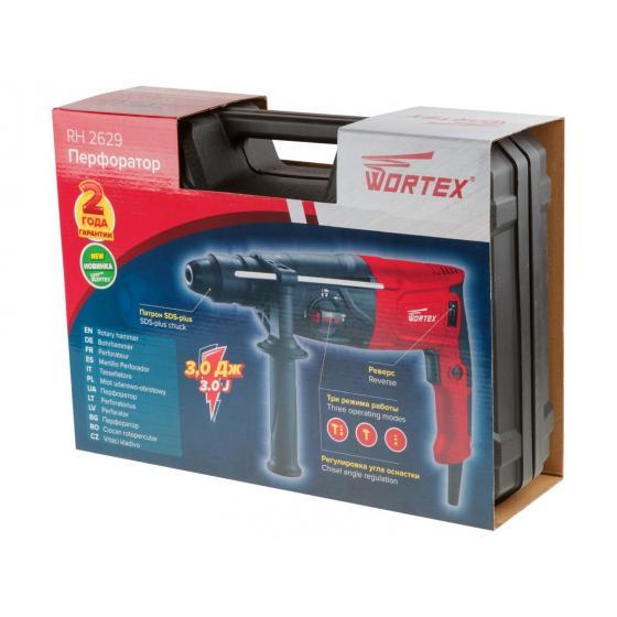 Перфоратор WORTEX RH 2629 в чем. + (2 зубила, 3 сверла) (800 Вт, 3.0 Дж, 3 реж., патрон SDS-plus, быстросъемн., БЗП в комплекте, вес 3.1 кг) (RH262901