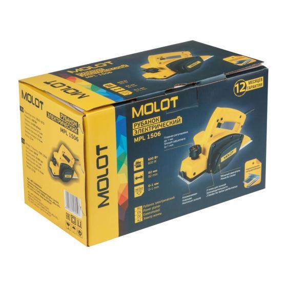 Рубанок электрический MOLOT MPL 1506 в кор. (600 Вт, шир. до 82 мм, глуб. до 1.0 мм) (MPL150600029)