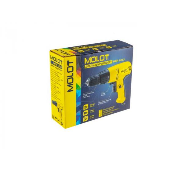 Дрель-шуруповерт MOLOT MDR 1013 в кор. (300 Вт, патрон БЗП, 18 Нм, шурупы до 6 мм) (MDR10130019)