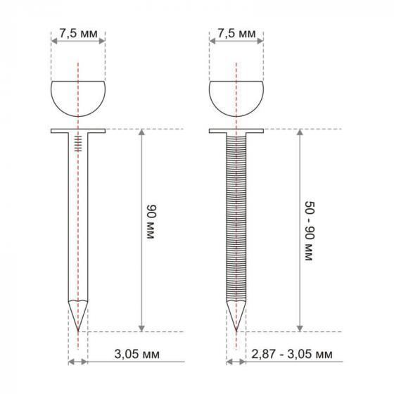 Реечные гвозди 34 градуса 3.05x75 мм ершеные // ТехМаш